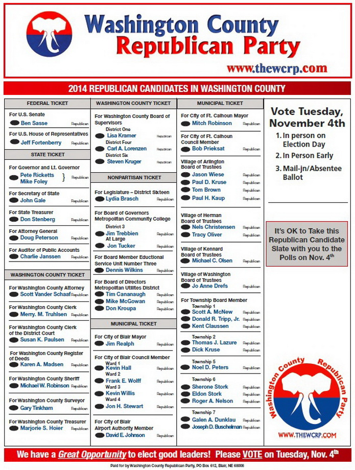 2014 WCRP GOP Slate
