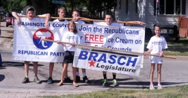 WCRP & Senator Brasch parade walkers with banners