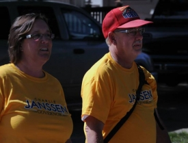 Gail & Micheal Dwyer walk in parade for Charlie Janssen
