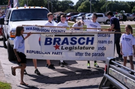 Banner carriers about ready for county fair parade to begin