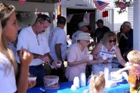John Orr, Marion Wilson & Linda Ingalsbe serving ice cream